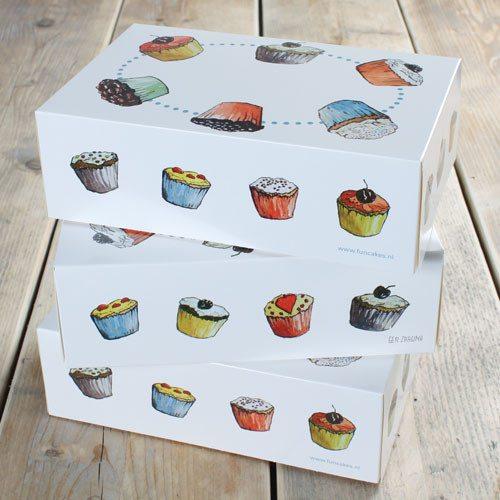 Cupcake boks til 6 cupcakes, 3 stk