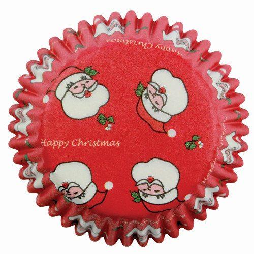 Muffinsforme, røde med julemænd