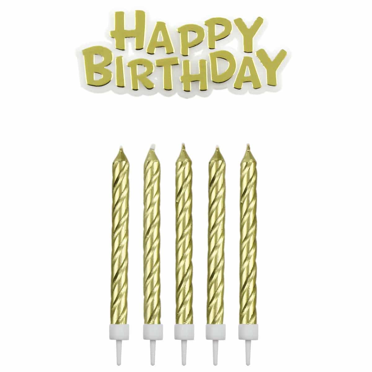 Fødselsdagslys, Happy Birthday, guld