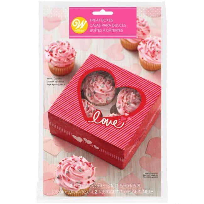 Cupcake boks til 4 cupcakes - Valentine