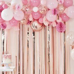 Ginger Ray Party baggrund med balloner, vifter mv. - Ferskel og rosa