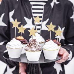 PartyDeco Cupcake toppers med guldstjerner - 6 stk.