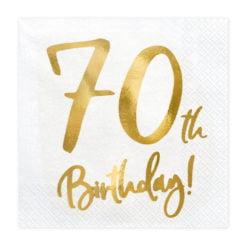 PartyDeco Servietter 70th Birthday, Hvid