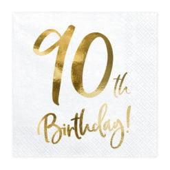 PartyDeco Servietter 90th Birthday, Hvid